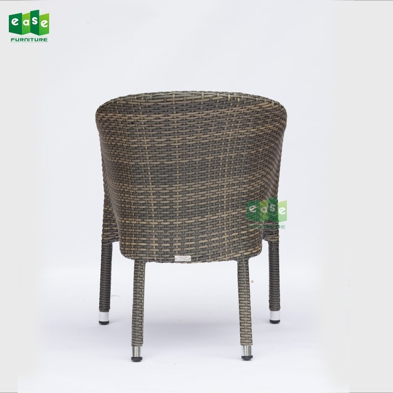 French style aluminum frame rattan woven bistro chair (E207)
