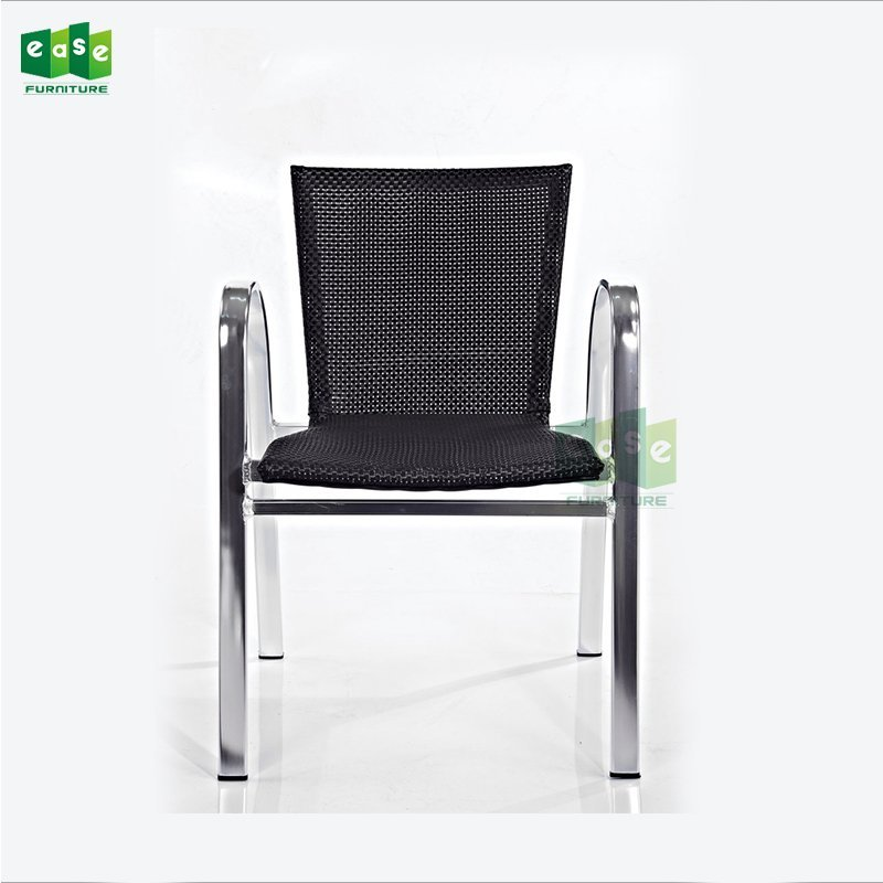 Shining anodizing aluminum outdoor fabric woven dining chairs (E1043)