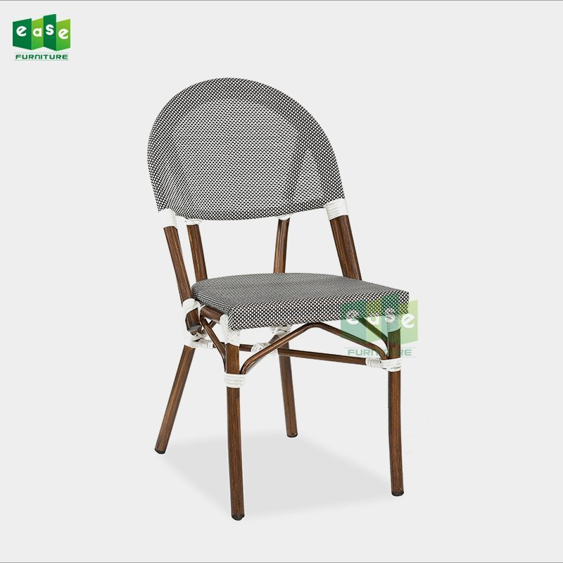 Powder coated aluminum mesh fabric outdoor bistro side chairs (E1045)