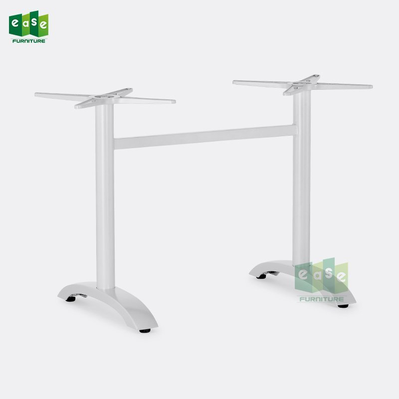 White Color Aluminum Double Table Base E9810 With Adjustable Foot nails