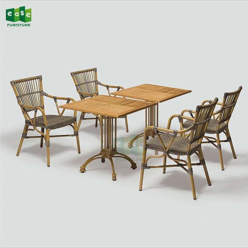 French bistro rattan woven outdoor dining table set for restaurant (AARON)