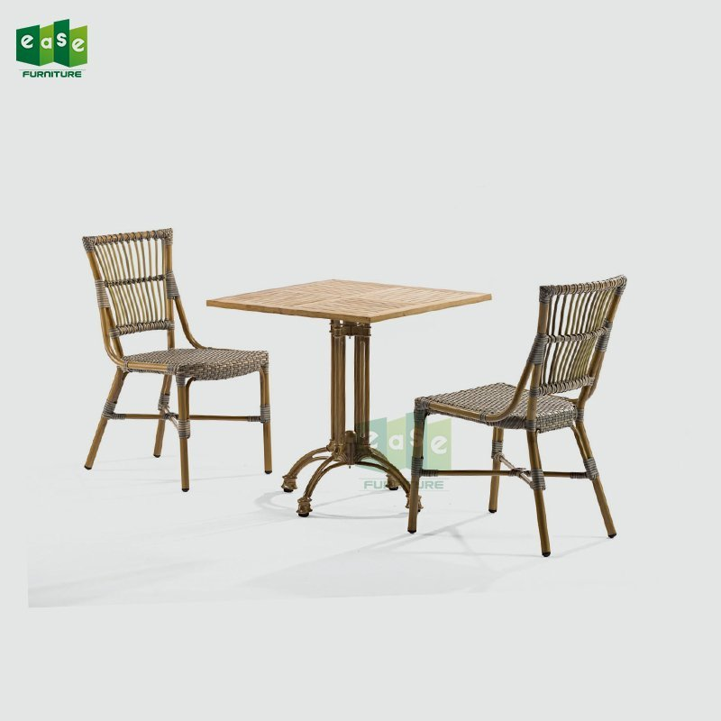 Wicker Outdoor Dining Cafe Table and Chair