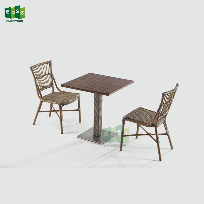EN581 standard wicker bistro table set for open air cafe (AARON II)
