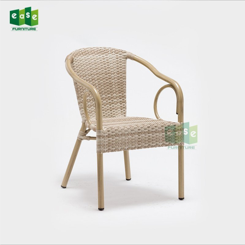 Aluminum frame bamboo look rattan bistro arm chair for sale (E1236)