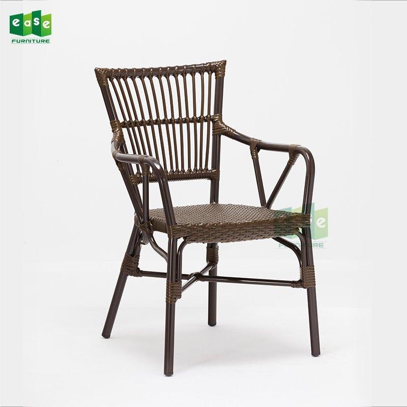 EN581 standard stacking aluminun rattan wicker dining chair (E3016)