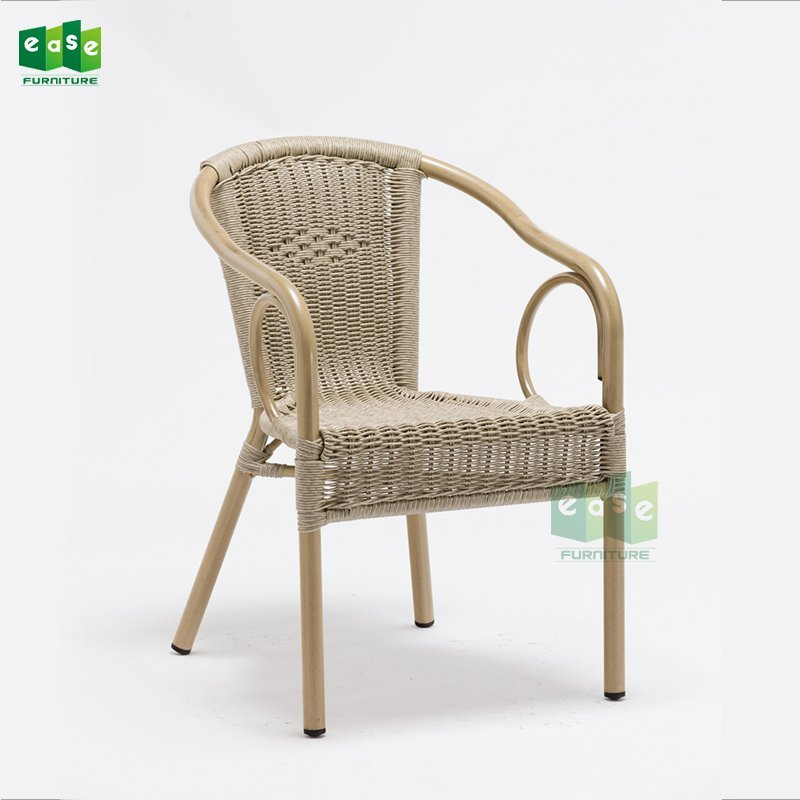 Stackable all weather wicker dining chair for garden (E6041S)