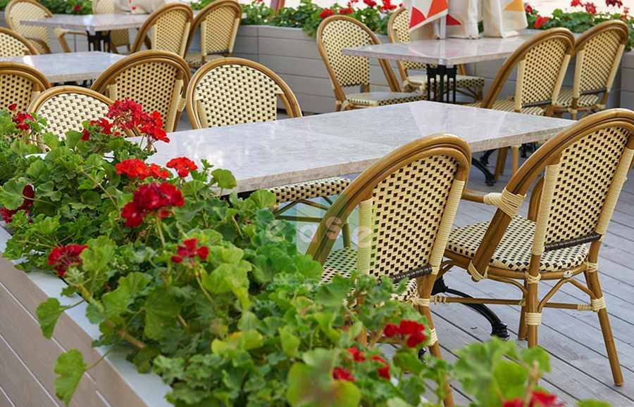 French bistro rattan chair for open air cafe
