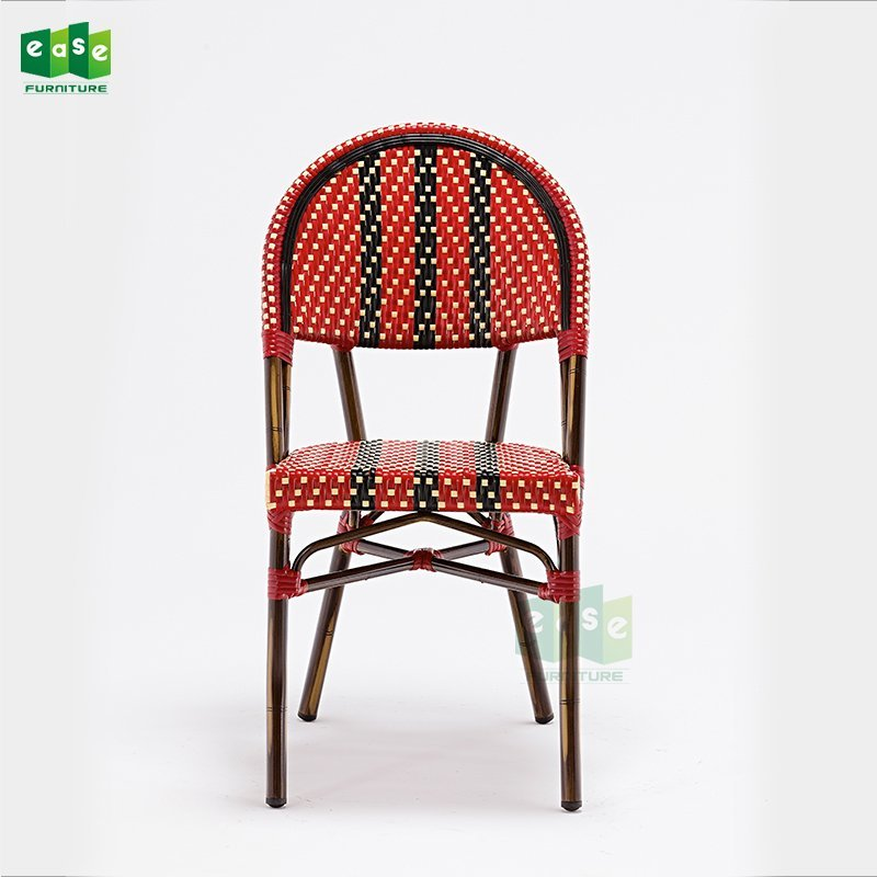 EN581 standard red and black color parisian rattan bistro chairs (E1042)