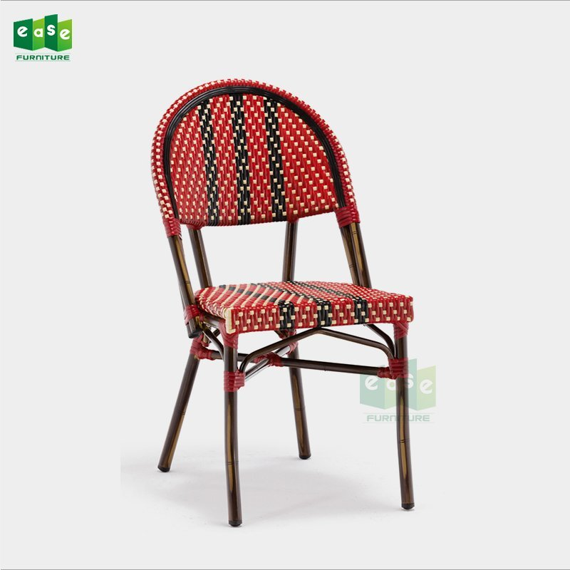 EN581 standard red and black color parisian rattan bistro chairs (E1042)