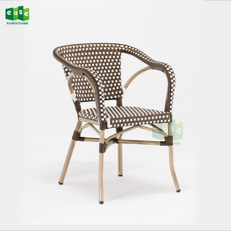 Outdoor bamboo looking finish french rattan woven bistro chairs (E1040)