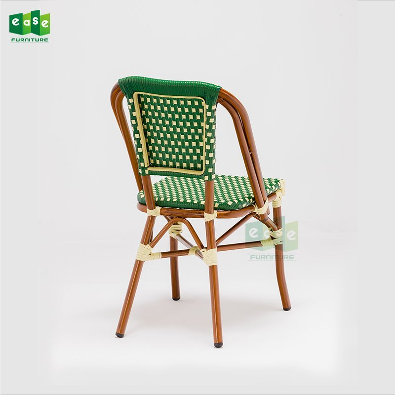 New design french cafe bistro aluminum rattan side chairs (E1041B)