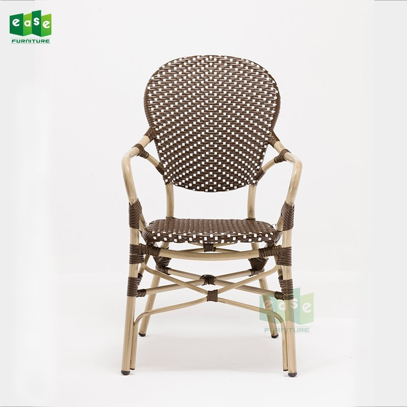 Vintage paris dining arm chairs brown and white rattan weaving (E3011)