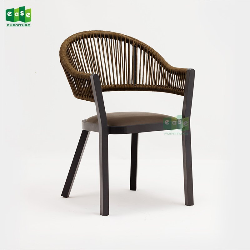 Luxury aluminum frame outdoor rope woven chair (E1402)
