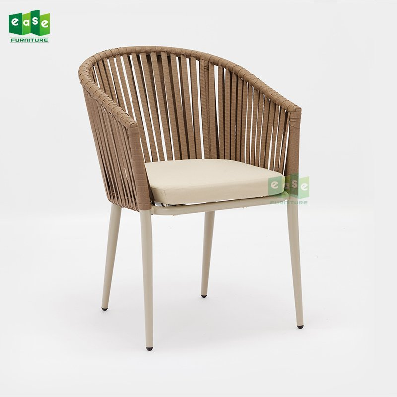 Comfortable stacking garden woven belt chair with cushion (E7083WR)