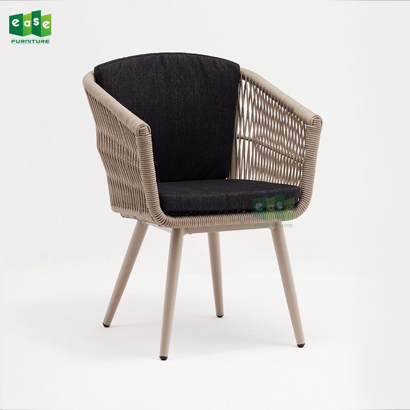 Patio rope woven dining chair with seat cushion (E1400)