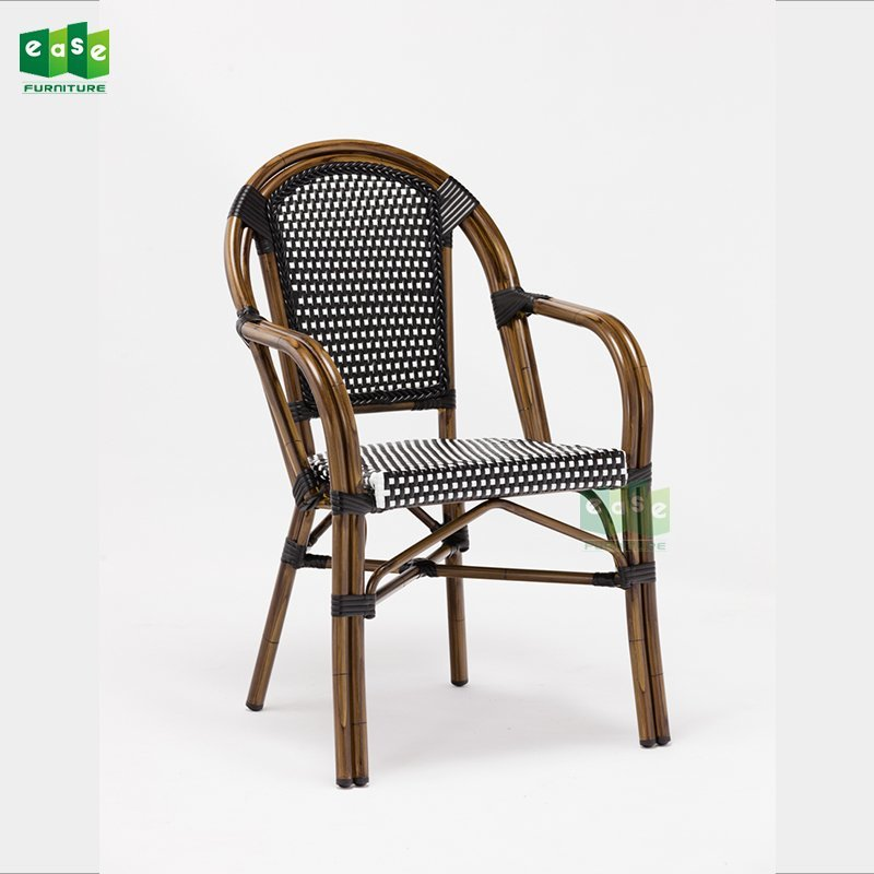 Parisian bamboo look stacking rattan seat cafe chair (E6016)