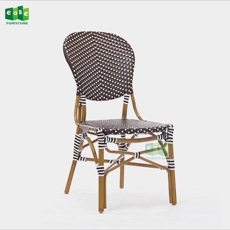 Bamboo look all weather synthetic rattan bistro chair for restaurant (E3012)