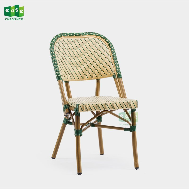 Stackable aluminum frame bamboo look french style bistro chair (E3004)
