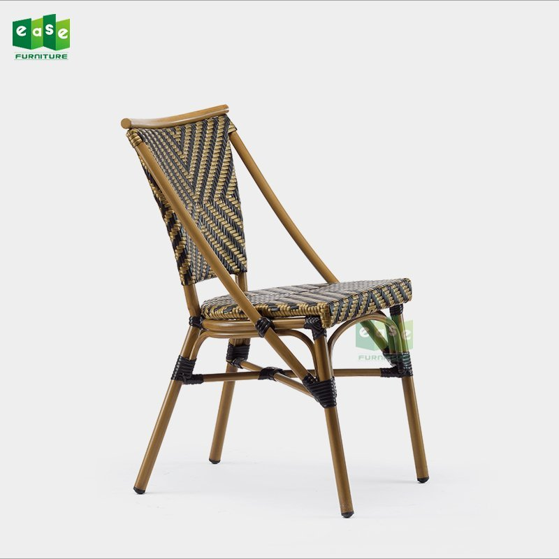 Bamboo look PE wicker stackable french cafe bistro chairs (E3001)