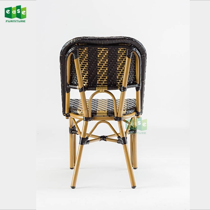 Aluminum bamboo look french bistro style rattan seat cafe chair (E3002)