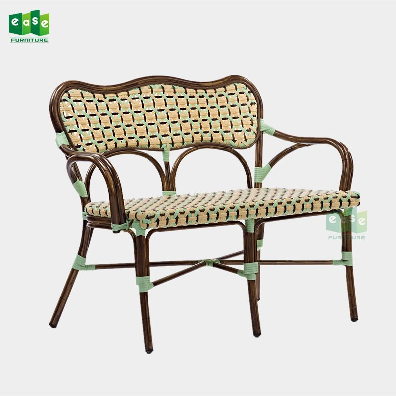 French style aluminum bamboo look bistro rattan bench sofa (E3005)