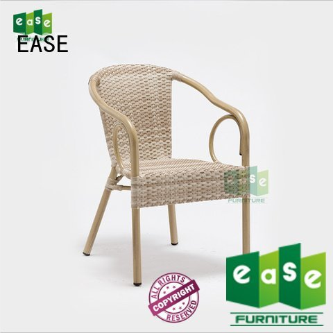 OEM rattan cafe chairs woven synthetic frame rattan bistro chairs