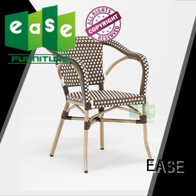 EASE Brand woven bistro armchair stacking weaving