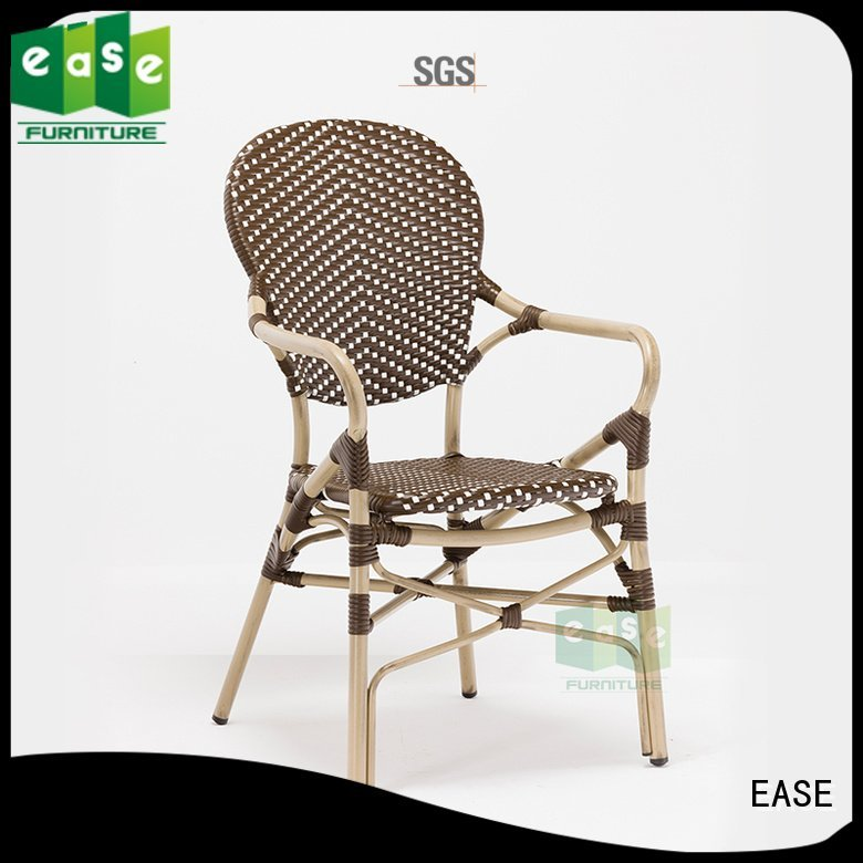 EASE Brand look black stacking outdoor bistro chairs