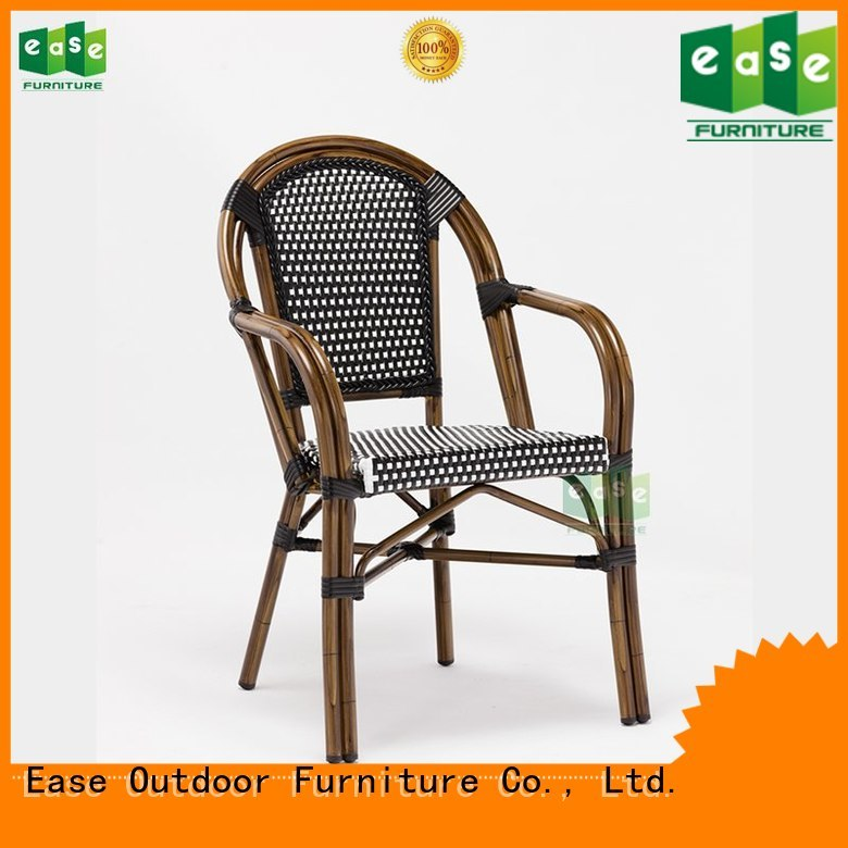 Hot rattan outdoor bistro chairs stacking brown EASE Brand