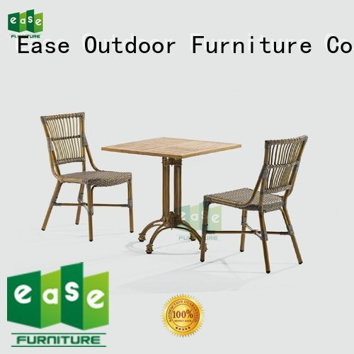 EASE aluminum patio table and chairs bistro patio bamboo cafe